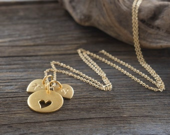 Personalized Heart Necklace - Custom Initial Charms. 24K Gold-Dipped. Gift Ideas for Her, New Mom