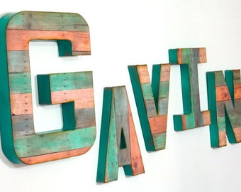 Reclaimed Wood Look - Wall Letters - Custom - A to Z