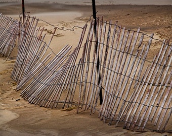 Broken Sand Fence on Ottawa Beach the Holland Michigan State Park No.108 A Abstract Seascape Photograph