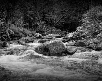 Cascading Water in a Rocky Vermont Wilderness River Stream No.BW074 A Fine Art Woodland Nature Photograph