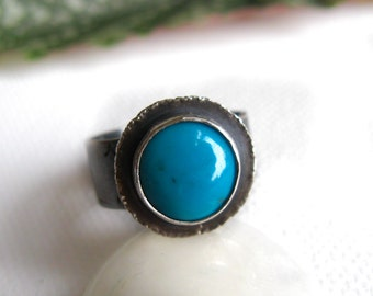 """Turquoise Ring in Sterling Silver Size 8 - """"Life"""" OOAK"""