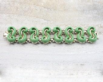 Vintage Green Chunky Statement Bracelet