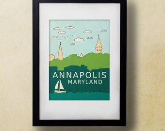 Annapolis Maryland // Modern Nursery Art Decor, Blue Green, Boat, City Poster, Typographic Print, Giclee, Travel Theme, Skyline, Modern Loft