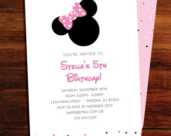 Minnie Mouse Birthday invitations - set of 15