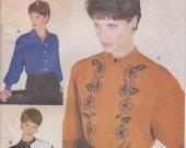 Loose Fitting Shirt Pattern Button Blouse Pattern Size 12 - 16 Uncut Vogue 9748
