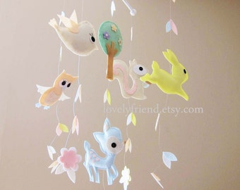 "Baby Crib Mobile - Baby Mobile - Long Decorate Neutral Mobile - ""Running Rabbit in the falling leaves"" (Pick your color)"