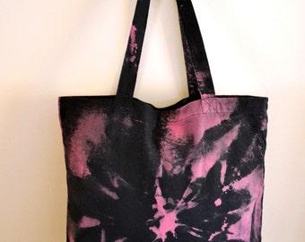 Magenta Tie Dye Bag - Black Marble, 80s Rocker Chic Hand Dyed Cotton Canvas Tote Bag, Shibori Purse