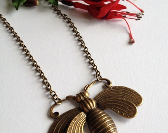 Queen Of The Bees Antique Brass Necklace By Melissani Jewellery