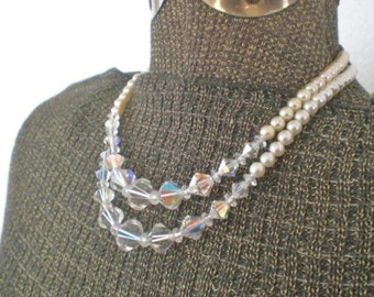 Vintage Glass Bead Choker Necklace Faux Pearl Iridescent Two Strand Faceted Carnival Glass Mid Century Costume Jewelry GallivantsVintage