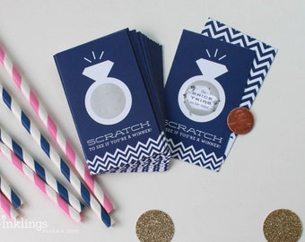 SALE! 24 Scratch Off Cards for Bridal Shower Game // Navy Blue