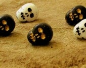 Czech Glass Skull Beads Matte Opaque Black or White with Detail 12x9 (10)