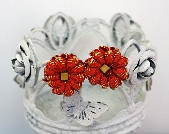 Vintage 50s Ribbon Earrings Red Gold Ribbon Trim Flower w Wood Bead Screw Backs