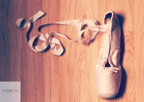 Let's Dance- Fine Art Photography 5x7 by Alana Gillett- Ballet Pointe Shoes Ribbons Pastel Pink Blush Girls Room Wall Art Home Decor