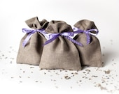 Linen gift bags - Wedding favor linen gift bags, set of 10 - Rustic gift bags with lavender polka dot ribbon