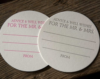 15 Advice and Well Wishes for the MR. and MRS. Coasters, modern design (Letterpress printed, 3.5 inches circle) perfect for weddings