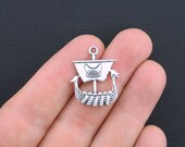 3 Viking Ship Charms Antique Silver Tone 2 Sided Great Detailing - SC3346