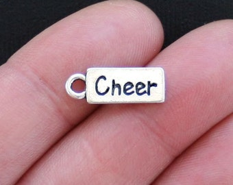 BULK 30 Cheer Charms Antique  Silver Tone - SC2622