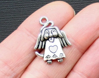 10 Dog Angel Charms Antique  Silver Tone In Memory Charm - SC3083