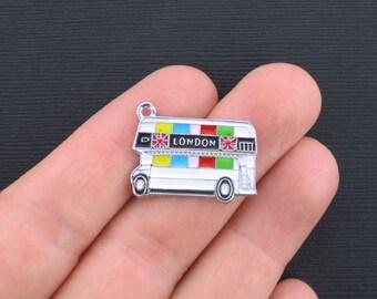 London Double Decker Bus Charms Silver Plated Enamel  - E143