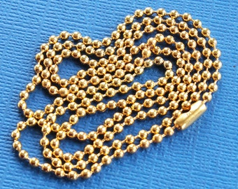 """10 Ball Chain Necklaces Gold 31.5"""" Great Quality for All Your Creations N050"""