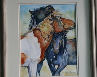 Three Amigos, a Wild Horse Watercolor Painting