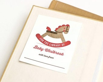 Personalized Bookplates, Retro Toy Children's Bookplate, Book-themed Baby Shower // ROCKING HORSE