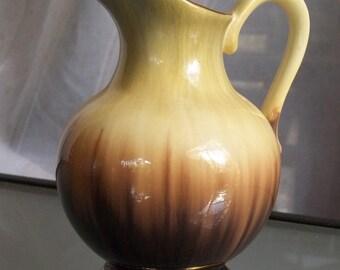 German Pitcher with Golden Trim, Vintage Home Decor, Caramel, Brown, Beige, Flower Vase, Prop