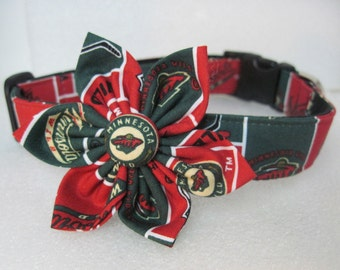 Minnesota Hockey Sports Dog Collar with Fabric flower by Collars for Canines
