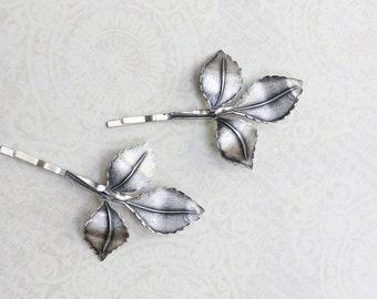 Branch Bobby Pins Nature Hair Accessories Antiqued Silver Leaf Bobby Pins Fall Autumn Rustic Brass Woodland Wedding Grey Leaves Hair Grips