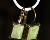 Square earrings with chartreuse green shimmer polymer clay - green fake gem stone earrings - blue agate - Made in Israel