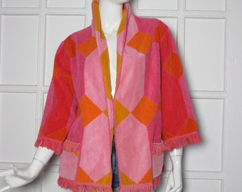 VTG 70s fringe terry cloth op art towel beach jacket cover up