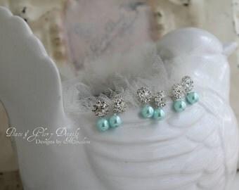 Bridesmaid Jewelry Set of 3 Bridesmaids Earrings - Aqua Blue Pearl Rhinestone Crystal Earrings - Sterling Silver - Bridesmaids Gifts