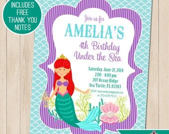 Mermaid Party Invitation | Mermaid Birthday Invitation | Mermaid Printable | Under the Sea | 1st Birthday Invitation | Amandas Parties To Go