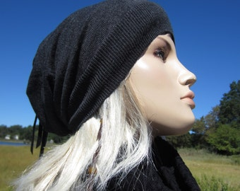 Womens Slouchy Beanies Wool Knit Hat Charcoal Gray A1001