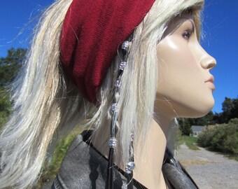 BOHO Headband Hair Wrap Yoga Turban Red Cotton Knit WIDE Stretch Lightweight Tube  A1040