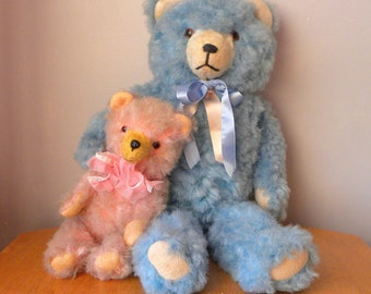 Vintage Bear - Large Blue Bear - Funfair Prize - Carnival Bear- German Teddy - 1950's Bear