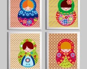 Nursery Art, Russian Doll Nursery Art, Nesting Doll Girl Baby Nursery Wall Decor, Childrens Illustrations set of 4