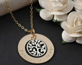 """Family Tree Necklace -  1"""" gold open circle washer with silver tree charm - mixed metal mommy jewelry"""