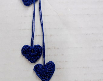 Mini Crocheted Hearts, Sweetheart Embellishments, Navy Blue Wedding Decor