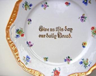 Antique Give Us This Day Our Daily Bread Lusterware Plate