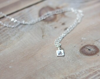 Tiny Initial Necklace - Sterling Silver - Handstamped Tiny Square - Dainty Delicate Everyday Necklace