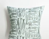 50% Off Was 35.00 Aqua 'Funky' Fish Pillow Cover - Kid Pillow Cover - 18 x 18 - Kids Bedding - Whimsical Fish Pillow7.