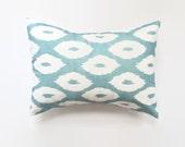 Blue and White Ikat Pillow Cover - Designer Pillow Cover - Lumbar - 12 x 18