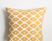 Chain Link in Mango Pillow Cover - Orange and White Pillow Cover - 18 x 18 - Coastal Chic