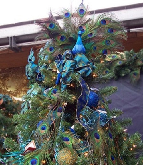 Chic Christmas 20 PEACOCK Ornament Topper