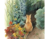 "Orange cat sitting in a green garden - ""Curiosity"" - Blank Note Card - Greeting Card, Special Occasion, Just Because, Birthday, Cat Lover"