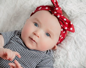 Baby Toddler Pre-tied Head Scarfs Red with White Polka Dots Halloween Rosie the Riveter Baby Headband Photo Prop Hair Accessory