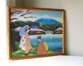 1950s Vintage Hand Painted Asian Landscape with Geishas Fuji Cherry Blossoms
