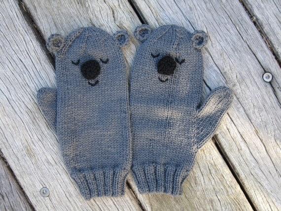 Knitting Pattern For Koala Bear Mittens : Koala bear animal mittens grey Australian pure wool by HotScones