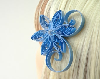 Periwinkle Blue Flower Accessories for Hair, Periwinkle Wedding Hair Clip, Wedgewood Blue Wedding Hair Accessory,